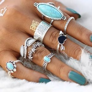 Jewelry - 8 Midi Knuckle Rings Silver Toned & faux Turquoise